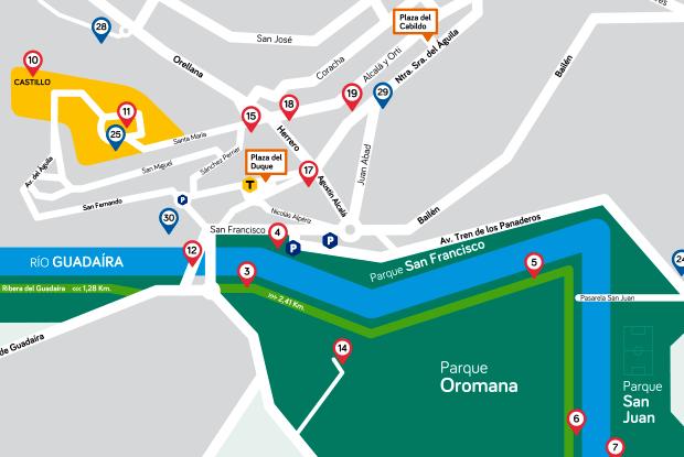 Detalle plano turístico de Alcalá de Guadáira