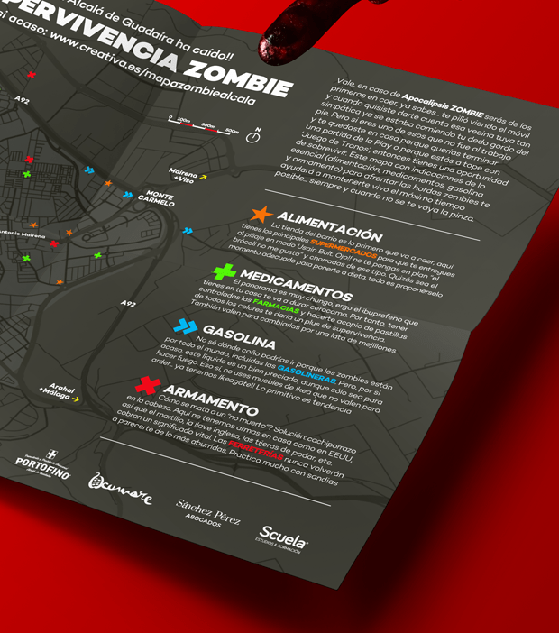 Diseño gráfico del Mapa de supervivencia zombie de alcalá de guardaría